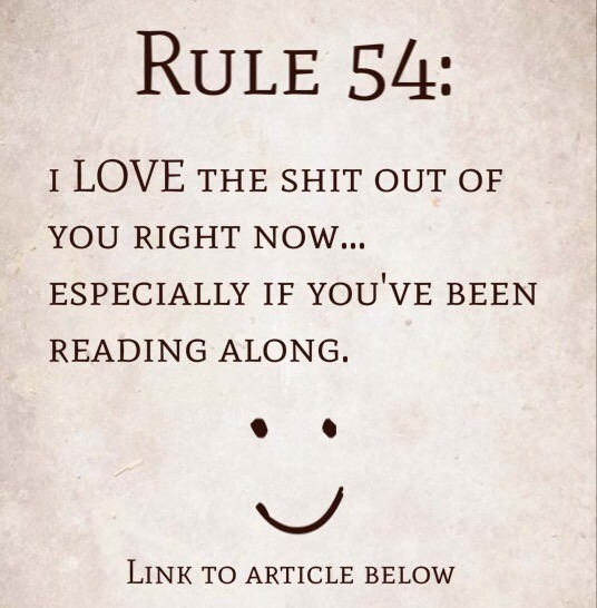 Rule 54: I love the shit out of you right now…especially if you've been reading along.