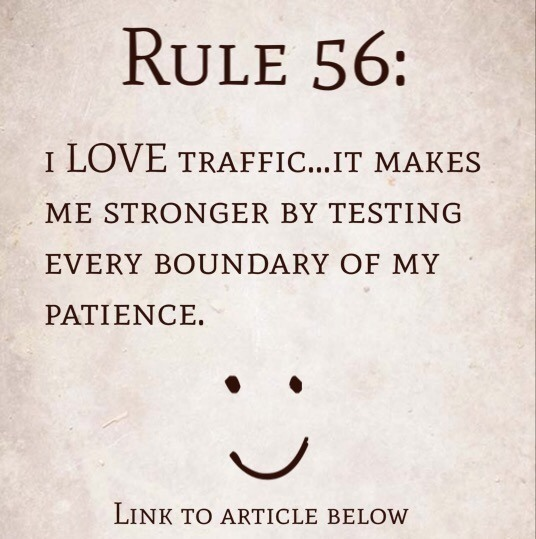 Rule 56: I LOVE traffic…it makes me stronger by testing every boundary of my patience.